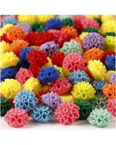 Blumenperlen, Größe 15x8 mm, Lochgröße 1,5 mm, Sortierte Farben, 10x25 Stck./ 1 Pck., 300 ml