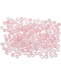 Rocaille Seed Beads, D: 3 mm, Größe 8/0 , Lochgröße 0,6-1,0 mm, Kristall mit farbein, 500 g/ 1 Pck.