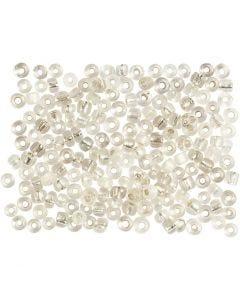 Rocaille Seed Beads, D: 3 mm, Größe 8/0 , Lochgröße 0,6-1,0 mm, Silber, 500 g/ 1 Pck.
