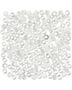 Rocaille Seed Beads, D: 4 mm, Größe 6/0 , Lochgröße 0,9-1,2 mm, Transparent, 25 g/ 1 Pck.