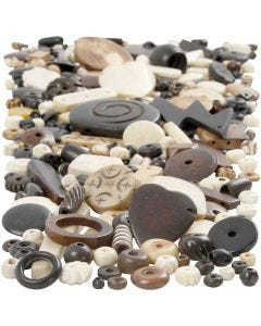 Knochenperlen-Mix, Größe 5-30 mm, Lochgröße 1-2 mm, 300 g/ 1 Pck.