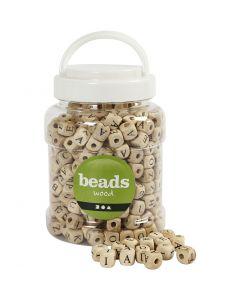 Buchstaben-Perlen, Größe 9x9x9 mm, Lochgröße 3 mm, 400 ml/ 1 Eimer