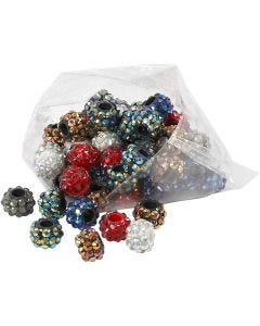Strass-Perlen - Sortiment, Größe 9x13 mm, Lochgröße 5 mm, Sortierte Farben, 6x10 Stck./ 1 Pck.
