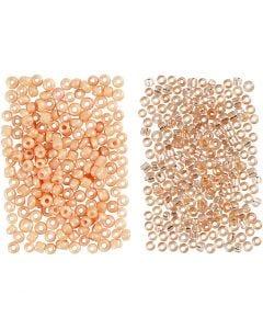 Rocaille Seed Beads, D: 1,7 mm, Größe 15/0 , Lochgröße 0,5-0,8 mm, Pfirsich, Hellpfirsich, 2x7 g/ 1 Pck.