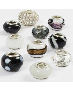 Glasperlen Harmonie, D: 13-15 mm, Lochgröße 4,5-5 mm, Harmonie in Schwarz-Weiß, 10 sort./ 1 Pck.