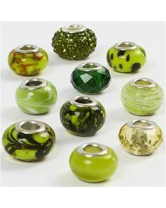 Glasperlen Harmonie, D: 13-15 mm, Lochgröße 4,5-5 mm, Grün mit Glitter, 10 sort./ 1 Pck.
