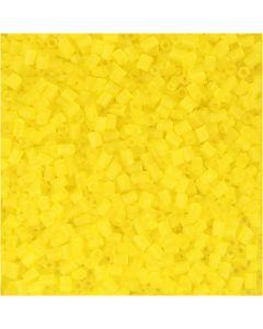 Farbige Glasröhren-Perlen, 2-cut, D: 1,7 mm, Größe 15/0 , Lochgröße 0,5 mm, Transparent Gelb, 500 g/ 1 Btl.