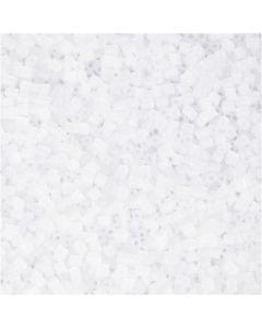 Farbige Glasröhren-Perlen, 2-cut, D: 1,7 mm, Größe 15/0 , Lochgröße 0,5 mm, Weiß, 500 g/ 1 Btl.
