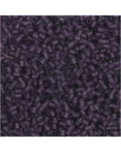 Farbige Glasröhren-Perlen, 2-cut, D: 1,7 mm, Größe 15/0 , Lochgröße 0,5 mm, Frosted Lila, 500 g/ 1 Btl.