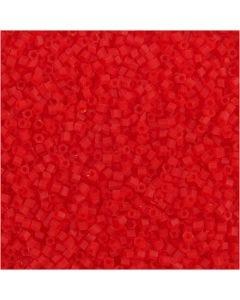 Farbige Glasröhren-Perlen, 2-cut, D: 1,7 mm, Größe 15/0 , Lochgröße 0,5 mm, Transparent Rot, 25 g/ 1 Pck.