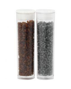 Farbige Glasröhren-Perlen, 2-cut, D: 1,7 mm, Größe 15/0 , Lochgröße 0,5 mm, Braun, Transparent Grau, 2x7 g/ 1 Pck.