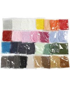 Rocaille Seed Beads, D: 1,7+3+4 mm, Größe 6/0+8/0+15/0 , Lochgröße 0,5-1,2 mm, 32x100 g/ 1 Pck.