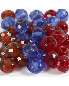 Glasperlen, Größe 9x14 mm, Lochgröße 4 mm, Blau, Braun, Rot, 36 Stck./ 1 Pck.