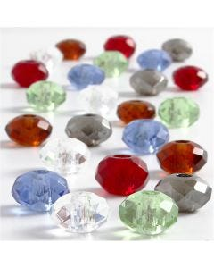 Glasperlen, Größe 9x14 mm, Lochgröße 4 mm, Sortierte Farben, 24 sort./ 1 Pck.