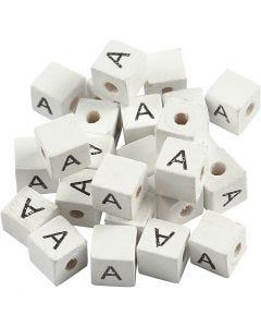 Buchstaben-Perle, A, Größe 8x8 mm, Lochgröße 3 mm, Weiß, 25 Stck./ 1 Pck.