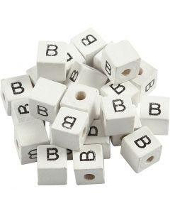 Buchstaben-Perle, B, Größe 8x8 mm, Lochgröße 3 mm, Weiß, 25 Stck./ 1 Pck.
