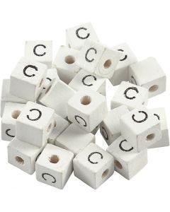 Buchstaben-Perle, C, Größe 8x8 mm, Lochgröße 3 mm, Weiß, 25 Stck./ 1 Pck.