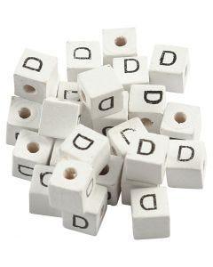 Buchstaben-Perle, D, Größe 8x8 mm, Lochgröße 3 mm, Weiß, 25 Stck./ 1 Pck.
