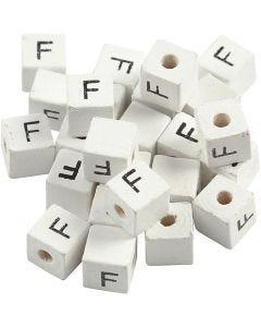 Buchstaben-Perle, F, Größe 8x8 mm, Lochgröße 3 mm, Weiß, 25 Stck./ 1 Pck.