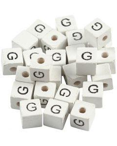 Buchstaben-Perle, G, Größe 8x8 mm, Lochgröße 3 mm, Weiß, 25 Stck./ 1 Pck.