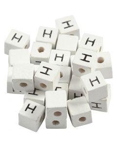 Buchstaben-Perle, H, Größe 8x8 mm, Lochgröße 3 mm, Weiß, 25 Stck./ 1 Pck.