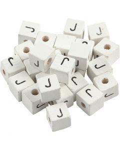 Buchstaben-Perle, J, Größe 8x8 mm, Lochgröße 3 mm, Weiß, 25 Stck./ 1 Pck.