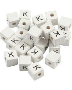 Buchstaben-Perle, K, Größe 8x8 mm, Lochgröße 3 mm, Weiß, 25 Stck./ 1 Pck.