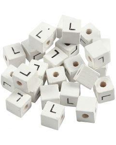 Buchstaben-Perle, L, Größe 8x8 mm, Lochgröße 3 mm, Weiß, 25 Stck./ 1 Pck.