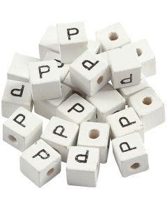 Buchstaben-Perle, P, Größe 8x8 mm, Lochgröße 3 mm, Weiß, 25 Stck./ 1 Pck.