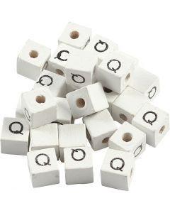 Buchstaben-Perle, Q, Größe 8x8 mm, Lochgröße 3 mm, Weiß, 25 Stck./ 1 Pck.