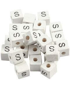 Buchstaben-Perle, S, Größe 8x8 mm, Lochgröße 3 mm, Weiß, 25 Stck./ 1 Pck.