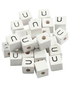 Buchstaben-Perle, U, Größe 8x8 mm, Lochgröße 3 mm, Weiß, 25 Stck./ 1 Pck.