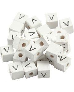 Buchstaben-Perle, V, Größe 8x8 mm, Lochgröße 3 mm, Weiß, 25 Stck./ 1 Pck.