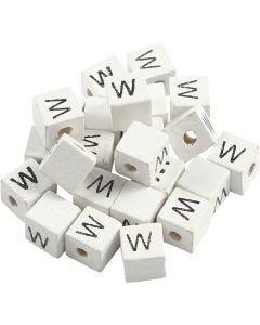 Buchstaben-Perle, W, Größe 8x8 mm, Lochgröße 3 mm, Weiß, 25 Stck./ 1 Pck.