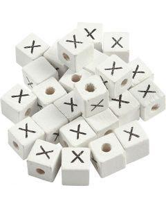 Buchstaben-Perle, X, Größe 8x8 mm, Lochgröße 3 mm, Weiß, 25 Stck./ 1 Pck.