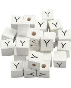 Buchstaben-Perle, Y, Größe 8x8 mm, Lochgröße 3 mm, Weiß, 25 Stck./ 1 Pck.