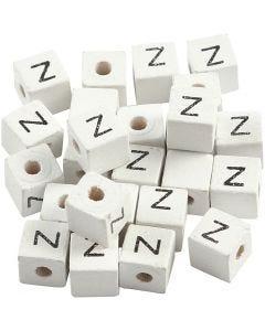 Buchstaben-Perle, Z, Größe 8x8 mm, Lochgröße 3 mm, Weiß, 25 Stck./ 1 Pck.