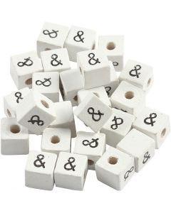Zeichen-Perle, &, Größe 8x8 mm, Lochgröße 3 mm, Weiß, 25 Stck./ 1 Pck.