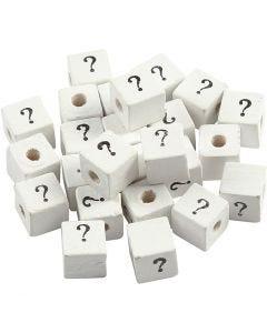 Zeichen-Perle, ?, Größe 8x8 mm, Lochgröße 3 mm, Weiß, 25 Stck./ 1 Pck.