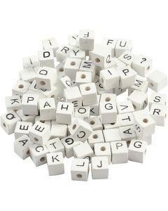 Buchstaben-Perle, A-Z, &, #, ?, Größe 8x8 mm, Lochgröße 3 mm, Weiß, 96 sort./ 1 Pck.