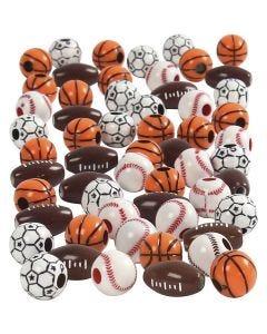 Sportball-Perlen, Größe 11-15 mm, Lochgröße 3-4 mm, Sortierte Farben, 270 g/ 1 Pck.