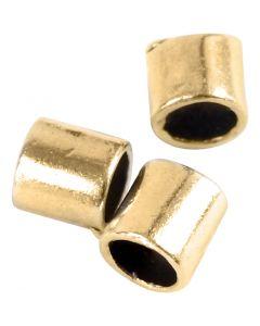 Quetschperle in Röhrenform, Größe 2x2 mm, Lochgröße 1,4 mm, Vergoldet, 80 Stck./ 1 Pck.