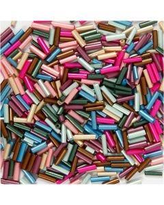 Bead Mix, L: 6 mm, D: 1,5-2 mm, Lochgröße 1 mm, Metallic-Farben, 130 g/ 1 Pck.
