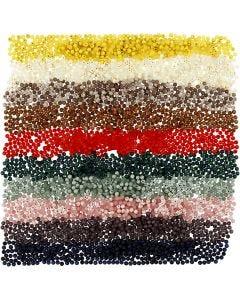 Kunststoffperlen - Sortiment, D: 6 mm, Lochgröße 1,5 mm, Sortierte Farben, 10x40 g/ 1 Pck.