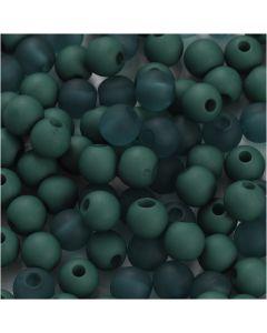 Kunststoffperlen, D: 6 mm, Lochgröße 2 mm, Flaschengrün, 40 g/ 1 Pck.
