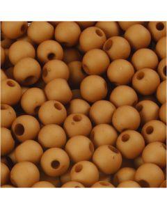 Kunststoffperlen, D: 6 mm, Lochgröße 2 mm, Braun, 40 g/ 1 Pck.