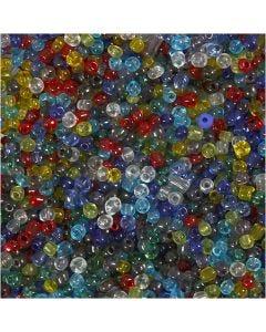 Rocaille Seed Beads, D: 4 mm, Größe 6/0 , Lochgröße 0,9-1,2 mm, Glänzend transparent, 130 g/ 1 Pck.