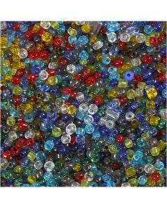 Rocaille Seed Beads, D: 4 mm, Größe 6/0 , Lochgröße 0,9-1,2 mm, Glänzend transparent, 1000 g/ 1 Pck.