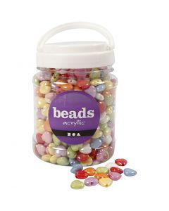 Herzperlen, Mix, Größe 15x15 mm, Lochgröße 3 mm, Sortierte Farben, 700 ml/ 1 Dose, 465 g