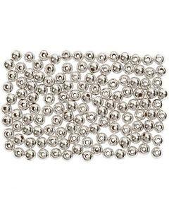 Wachsperlen, D: 3 mm, Lochgröße 0,7 mm, Silber, 150 Stck./ 1 Pck.